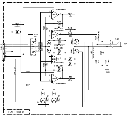 [Schematic of C-7030 headphone circuitry]