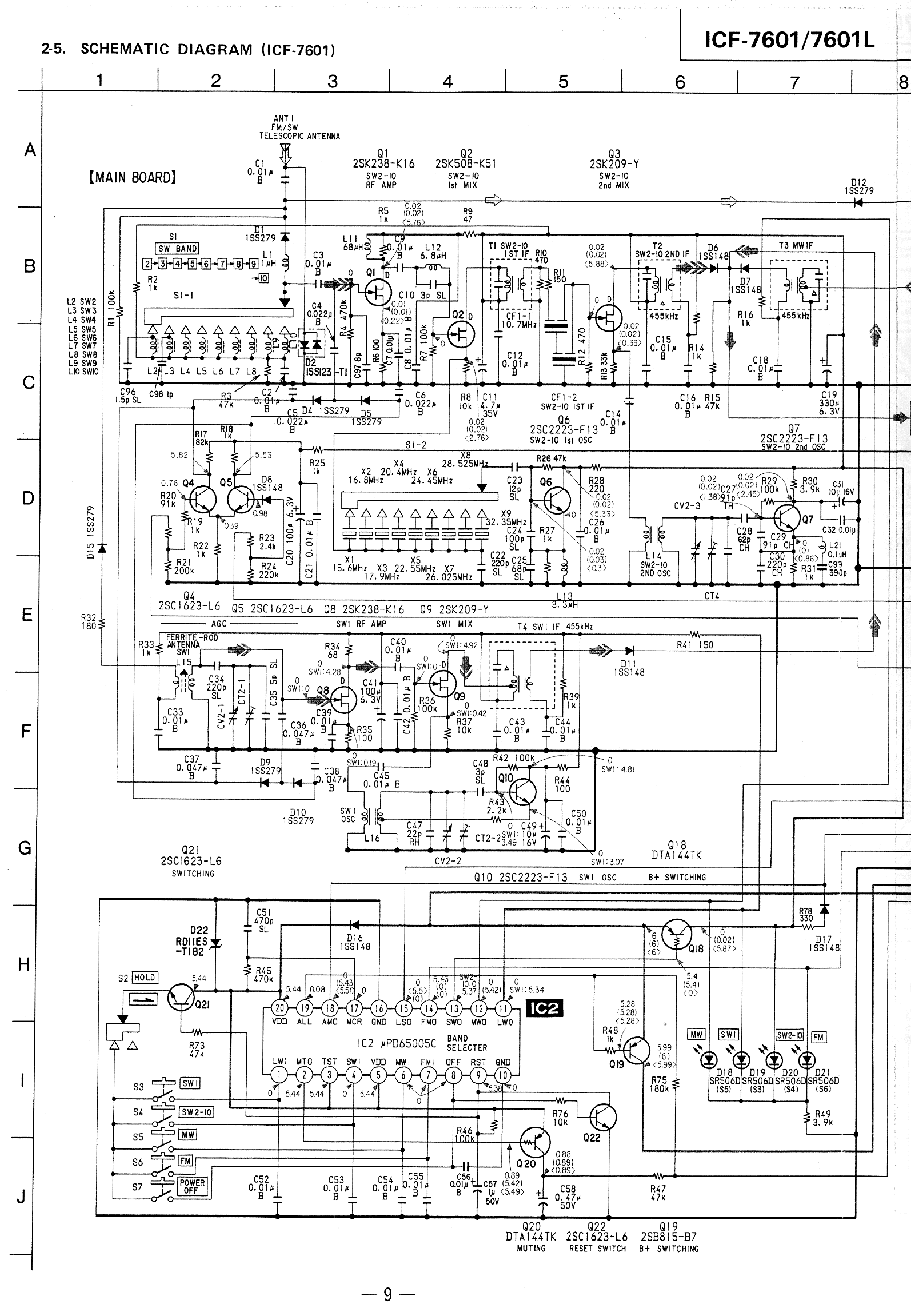 icf 7601 schematic l the sony 7600 series page icf 7601, icf 7600da 7700 smart fortwo 450 wiring diagram pdf at readyjetset.co