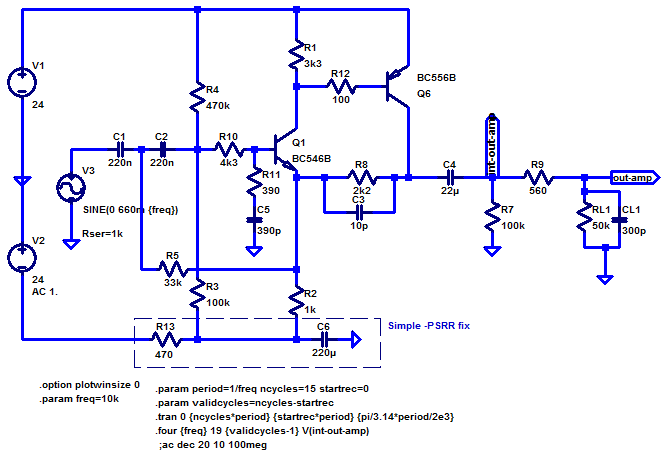 [Schematic: Leach preamp line-level stage w/ PSRR fix]